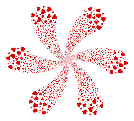 Valentine Heart twirl flower with six petals. Object burst organized from random valentine heart symbols. Raster illustration style is flat iconic symbols.