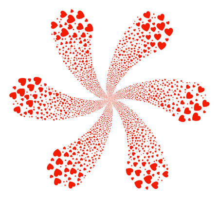 Love Heart exploding bang. Object flower done from randomized love heart symbols. Raster illustration style is flat iconic symbols.