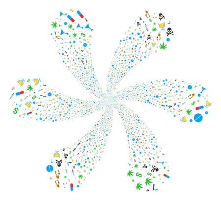 Narcotic Drugs centrifugal fireworks. Element curl composed from scattered narcotic drugs items. Raster illustration style is flat iconic symbols. Stock Photo