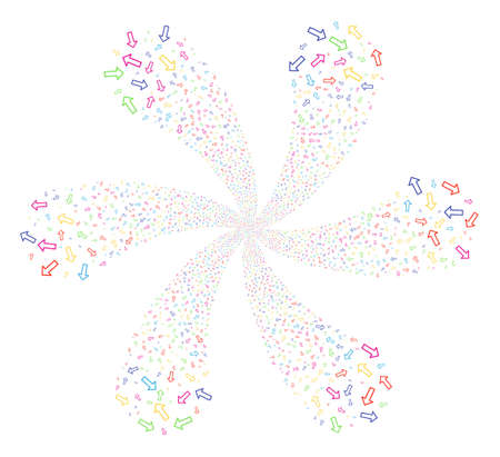Multicolored Arrow cyclonic flower cluster. Impressive twist composed from scatter arrow symbols. Raster illustration style is flat iconic symbols. Stock Photo