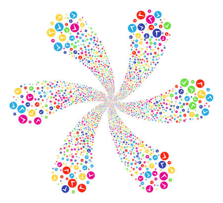 Colorful Apply rotation flower with 6 petals. Hypnotic cluster designed from scatter apply items. Raster illustration style is flat iconic symbols. Stock Photo