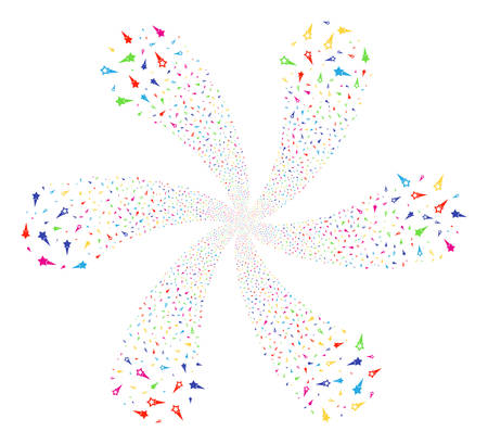 Bright Confetti Stars centrifugal burst. Impressive spiral organized from scatter confetti stars objects. Vector illustration style is flat iconic symbols. Illustration