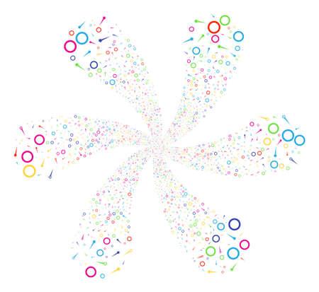 Multicolored Confetti Stars cyclonic composition. Impressive twirl organized from random confetti stars objects. Vector illustration style is flat iconic symbols.