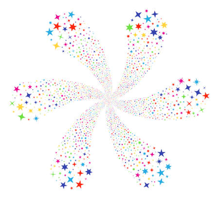 Bright Confetti Stars cycle abstract flower. Psychedelic twirl composed from scatter confetti stars items. Vector illustration style is flat iconic symbols. Vectores