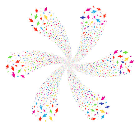 Multicolored Cursor Arrow centrifugal abstract flower. Suggestive centrifugal explosion created from scatter cursor arrow symbols. Vector illustration style is flat iconic symbols.