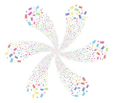 ADN psicodélico. Explosión psicodélica diseñada a partir de objetos espirales de ADN aleatorios. El estilo de ilustración vectorial es símbolos icónicos planos. Ilustración de vector