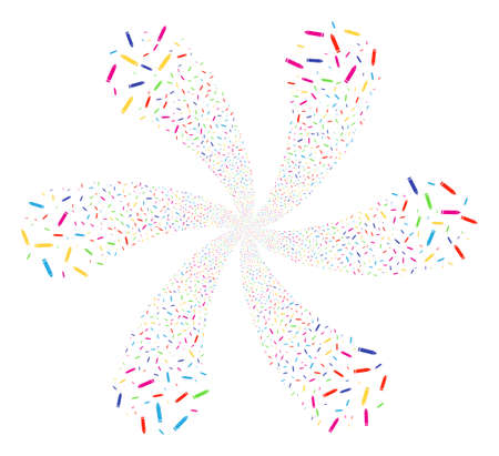 Colorful Edit Pencil explosion flower with six petals. Hypnotic twirl composed from randomized edit pencil objects. Vector illustration style is flat iconic symbols.