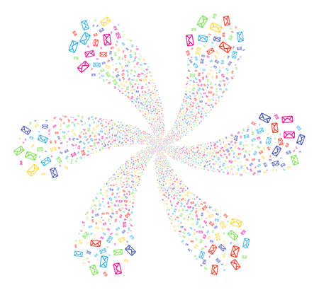 Bright Envelope cyclonic flower cluster. Suggestive curl combined from random envelope objects. Vector illustration style is flat iconic symbols.