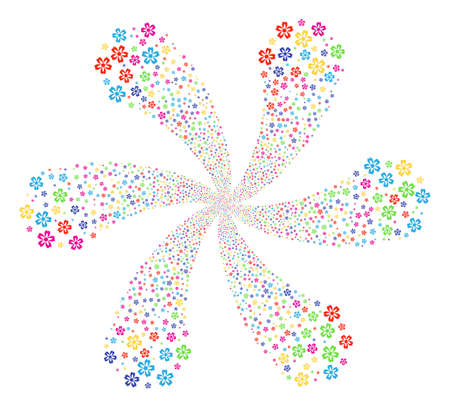 Bright Flower cycle motion. Psychedelic flower composed from randomized flower symbols. Vector illustration style is flat iconic symbols.
