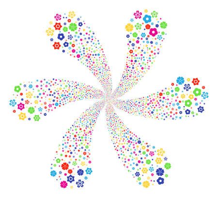 Multi Colored Flower cycle flower shape. Impressive twist organized from scatter flower items. Vector illustration style is flat iconic symbols. Illustration