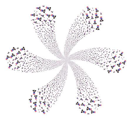 American Uncle Sam explosion spin. Object flower organized from random american uncle sam symbols. Vector illustration style is flat iconic symbols. Illusztráció