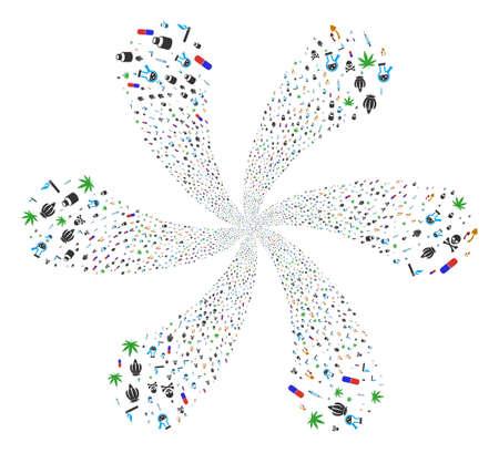 Composition de tourbillon de stupéfiants. Cycle d'objet organisé à partir de symboles aléatoires de stupéfiants. Le style d'illustration vectorielle est des symboles emblématiques plats. Banque d'images - 96886965
