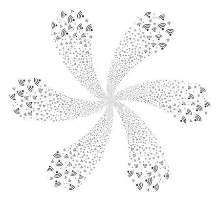 Source cycle flower cluster. Element cycle done from scatter wifi source items vector illustration style is flat iconic symbols.