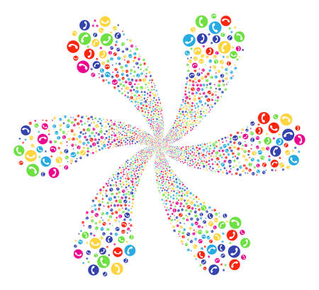 Multicolored Phone Number centrifugal spin. Suggestive flower with six petals composed from scatter phone number items. Raster illustration style is flat iconic symbols.