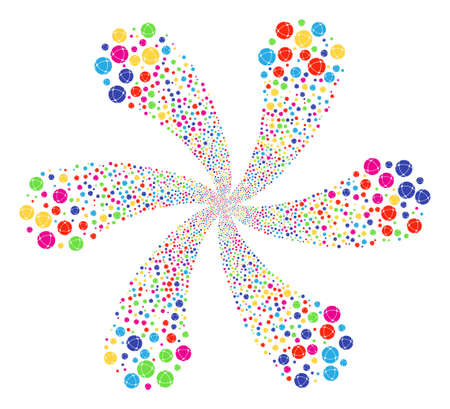 Multicolored Internet exploding flower cluster. Impressive flower composed from scattered internet symbols. Raster illustration style is flat iconic symbols.