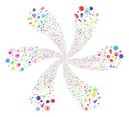 Attractive Medical Symbols curl bang. Suggestive flower composed from random medical symbols symbols. Raster illustration style is flat iconic symbols. Фото со стока