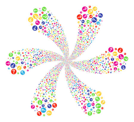 Multi Colored Query cyclonic flower with six petals. Suggestive centrifugal explosion created from scatter query items. Raster illustration style is flat iconic symbols.