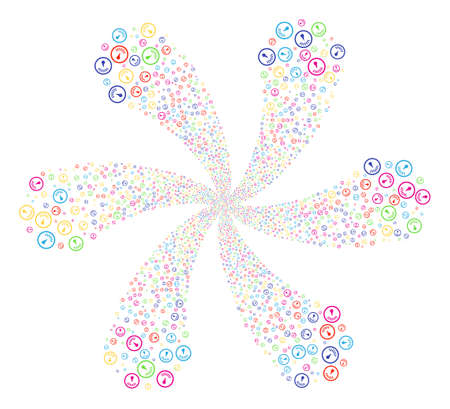 Multicolored Gauge cycle flower with 6 petals. Impressive centrifugal explosion organized from scatter gauge items. Raster illustration style is flat iconic symbols.