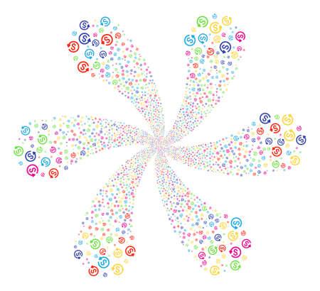 Colorful refund centrifugal burst. Impressive centrifugal explosion organized from scattered refund symbols. Vector illustration style is flat iconic symbols.