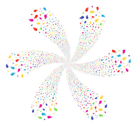 Multicolored Person Stress Strike cyclonic flower with 6 petals. Impressive burst done from random person stress strike symbols. Vector illustration style is flat iconic symbols.