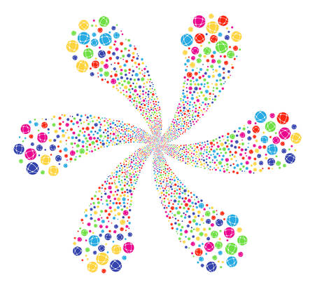 Attractive Network rotation abstract flower. Impressive flower with six petals organized from random network items. Vector illustration style is flat iconic symbols.