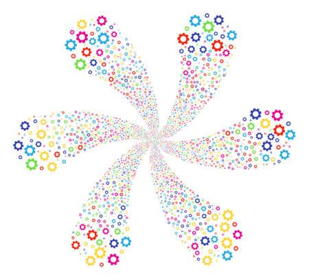 Multicolored Gear twirl bang. Impressive centrifugal explosion organized from randomized gear symbols. Vector illustration style is flat iconic symbols. Illustration