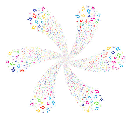 Bright Music cyclonic motion. Psychedelic twirl combined from randomized music symbols. Vector illustration style is flat iconic symbols. Illustration