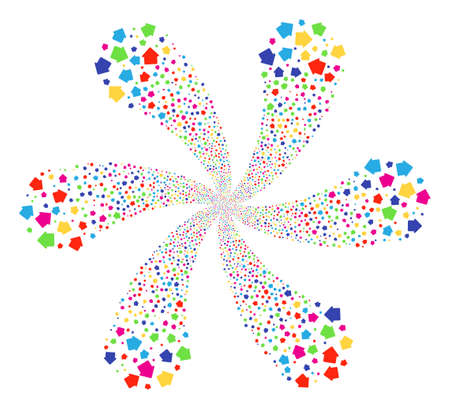 Multicolored House centrifugal flower cluster. Impressive spiral created from scattered house items. Vector illustration style is flat iconic symbols.