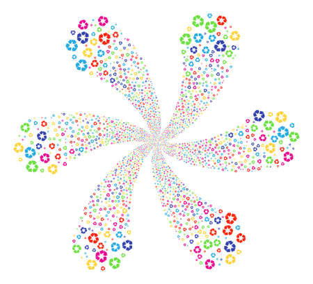 Bright Recycle Arrows cyclonic spin. Suggestive flower with six petals created from scatter recycle arrows objects. Vector illustration style is flat iconic symbols.