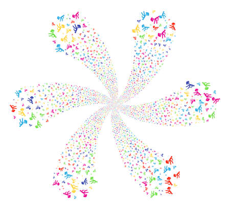 Colorful Fart Gases centrifugal flower with 6 petals. Hypnotic twist created from scatter fart gases objects. Raster illustration style is flat iconic symbols.