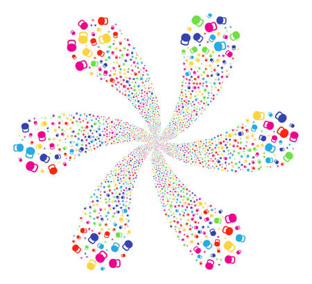 Colorful Weight swirl fireworks. Impressive flower with six petals combined from scattered weight symbols. Raster illustration style is flat iconic symbols.