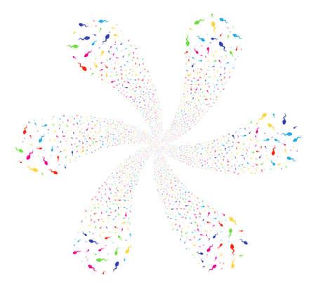 Multi Colored Spermatozoon twirl flower shape. Impressive twirl designed from scatter spermatozoon symbols. Raster illustration style is flat iconic symbols.