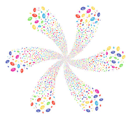 Multicolored Vision cycle flower cluster. Impressive centrifugal explosion combined from scatter vision items. Raster illustration style is flat iconic symbols. Stock Photo