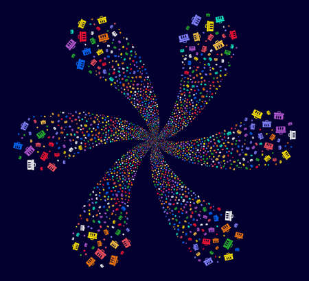 Bright Analysis cyclonic motion on a dark background. Impressive flower designed from random analysis objects.