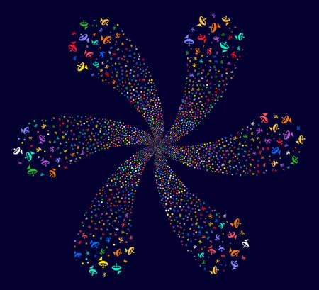 Bright Antenna spiral fireworks on a dark background. Suggestive twist combined from scatter antenna symbols. Illustration