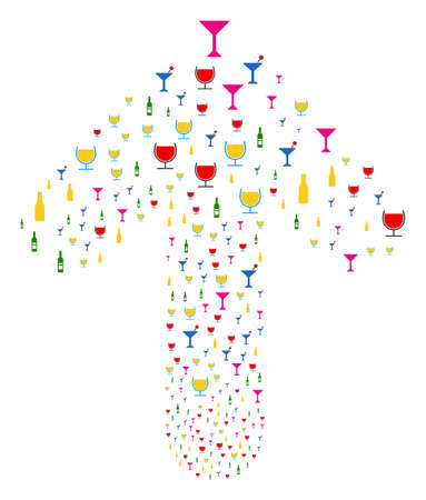 Alcohol Bar Drinks pattern created in the shape of forward pointer arrow. Upwards direct arrow figure done from alcohol bar drinks pictograms.