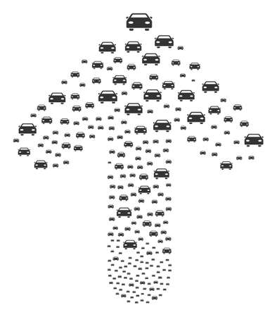 Car pattern combined in the group of ahead pointer arrow. Up way arrow shape designed from car pictographs. Illustration