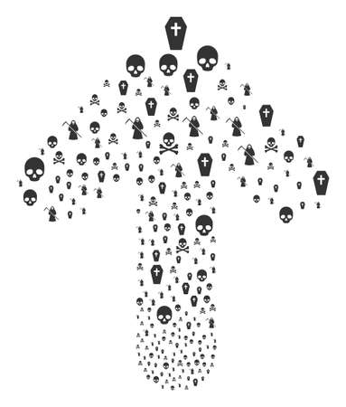 Death illustration composed in the shape of ahead directional arrow. Forward motion arrow shape made from death objects.
