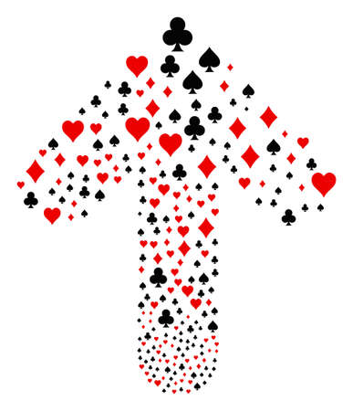 Playing Card Suits pattern organized in the figure of ahead motion arrow. Forward movement arrow composition constructed from playing card suits items.