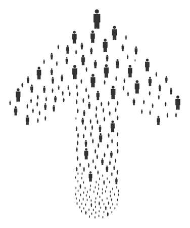 Person illustration constructed in the combination of ahead pointer arrow. Forward directed arrow figure combined from person items.