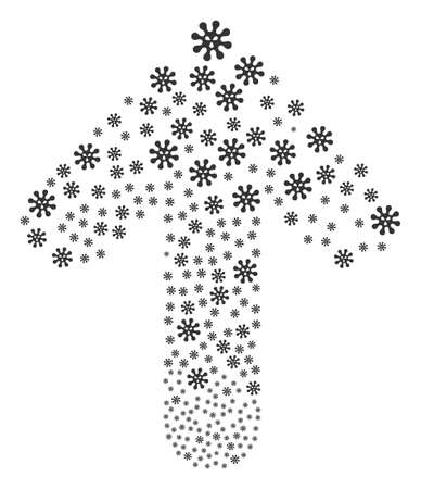 Virus illustration composed in the group of ahead target arrow. Up target arrow collage created from virus pictograms.