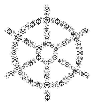 Bootstuurwiel illustratie georganiseerd in de vorm van bootstuurwielpictogrammen.