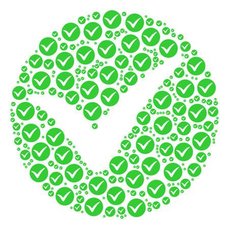 Circular icon with check mark illustration