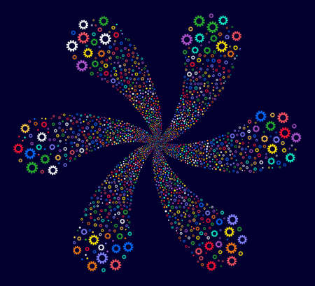 Bright Cog spiral flower shape on a dark background. Impressive cycle organized from scatter cog items. Banco de Imagens