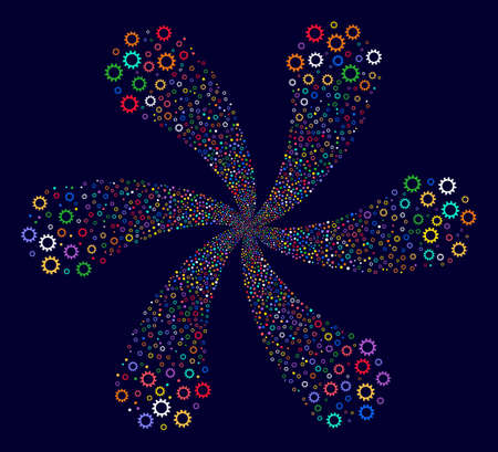 Colorful Cogwheel exploding fireworks on a dark background. Hypnotic whirlpool organized from scatter cogwheel items.