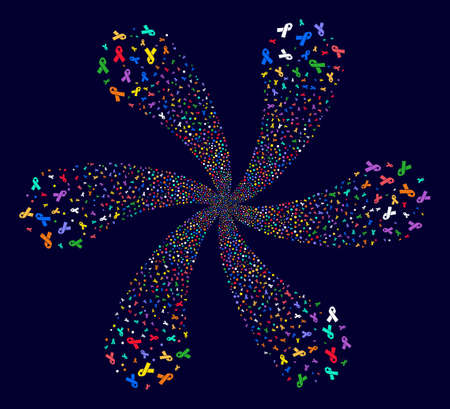 Bright Mourning Ribbon swirl flower with six petals on a dark background. Suggestive flower with six petals combined from random mourning ribbon items.