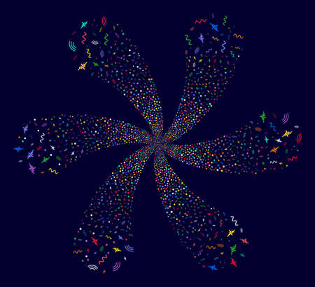 Colorful Audio Signal centrifugal spin on a dark background. Hypnotic flower with six petals created from scatter audio signal items. Illustration