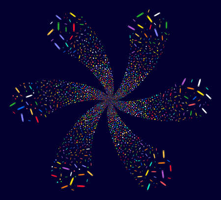 Colorful Edit Pencil twirl fireworks on a dark background. Psychedelic whirlpool done from scatter edit pencil symbols. Illustration