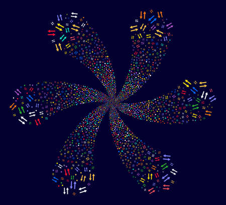 Attractive Exchange Arrows exploding abstract flower on a dark background. Suggestive twirl organized from random exchange arrows symbols.