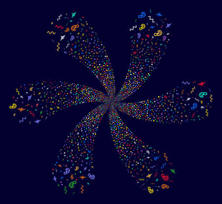Multi Colored Listen Signal twirl flower with 6 petals on a dark background. Suggestive centrifugal explosion created from scattered listen signal items.